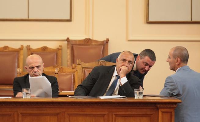 Томислав Дончев, Бойко Борисов и Владислав Горанов в Народното събрание