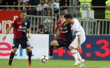 Милан не успя да прескочи уж ниското препятствие Каляри (видео)
