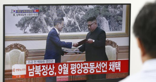 Държавният глава на КНДР Ким Чен-ун и на Република Корея