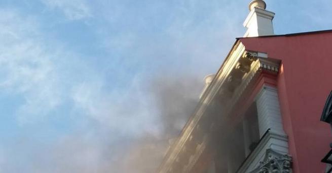 Пожар пламна в oфисана банка в Пловдив на главната улица,
