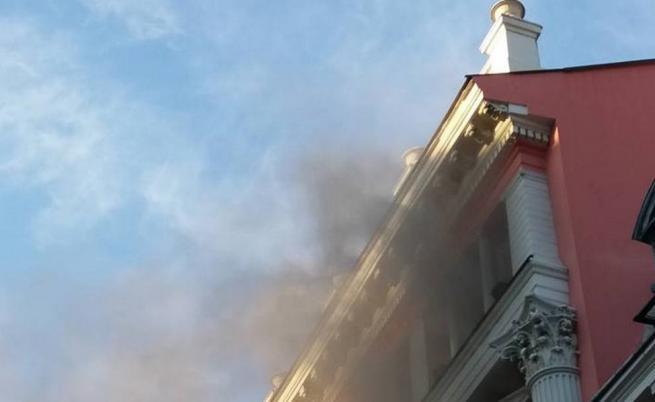 Пожар в офис на банка