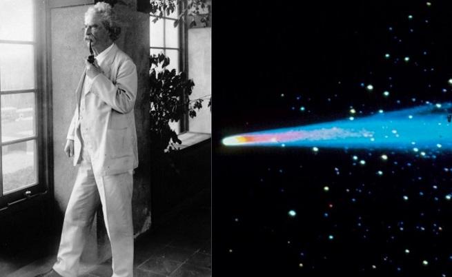 """Марк Твен и Халеевата комета<br /> <br /> Дали Марк Твен е предсказал собствената си смърт? Ако не, то тогава това е огромно съвпадение. Писателят е роден през 1835 г.,когато Халеевата комета минава покрай Земята. Това събитие се случва веднъж на всеки 79 години, но Твен предсказва, че ще умре при следващото ѝ преминаване. През 1909 г. той казва: """"Аз дойдох с Халеевата комета през 1835 г. я идва отново следващата година и очаквам да си тръгна с нея"""". Писателят умира на рождения си ден през 1910 г."""