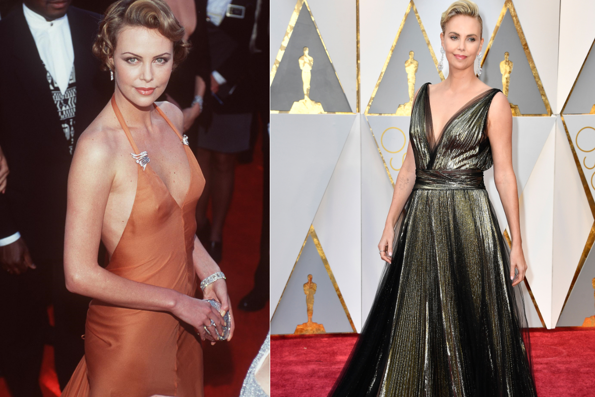"""Чарлийз Терон през 2000 и през 2017 г. на церемонията по връчване на """"Оскар""""-ите."""