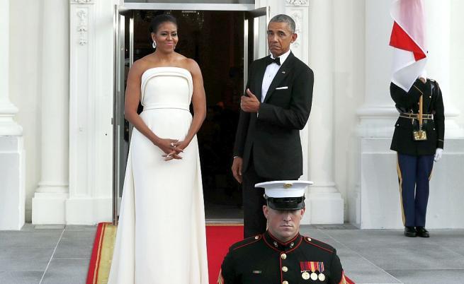 Мишел Обама в рокля на Brandon Maxwell през 2016 година