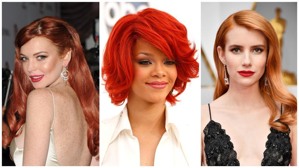 колаж червена коса