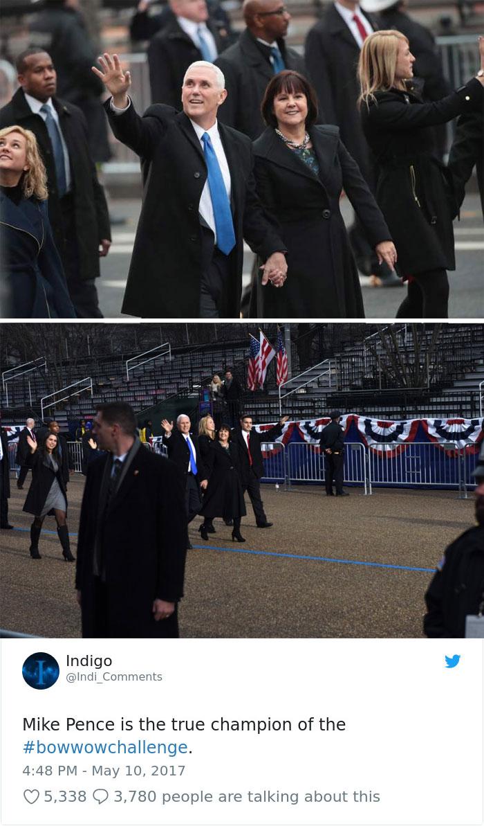 Кадри с вицепрезидента Майк Пенс от церемонията на полагането на клетва от Доналд Тръмп като президент на САЩ.