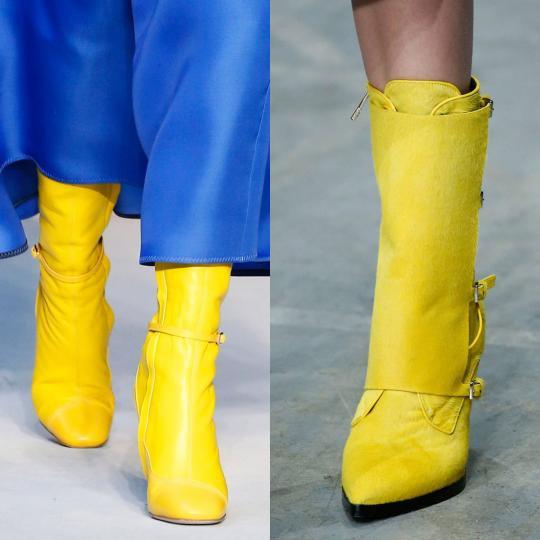 <p><b>Жълто</b><br /> Ярък цвят, който не е характерен за студените месеци, още повече при ботушите, но не и този моден сезон. Сега чифт жълти ботуши са с огромна добавена стойност за стил.</p>  <p><b><i>&nbsp;</i></b><i>Снимки: Roksanda, Trussardi</i><br /> &nbsp;</p>