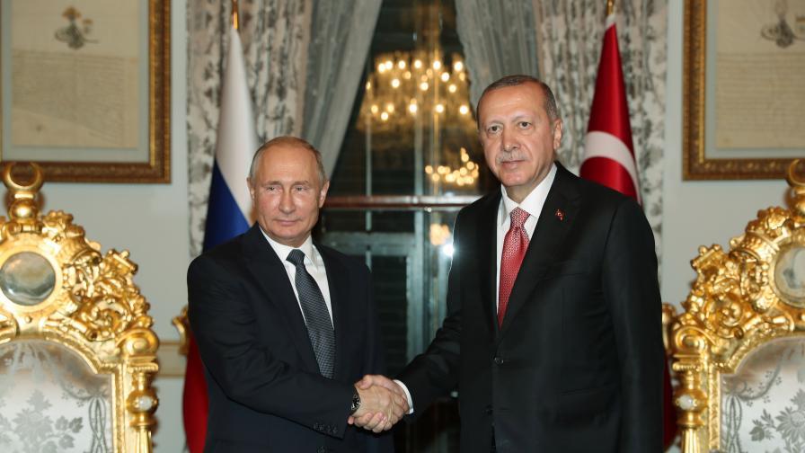Ердоган и Путин на церемонията за