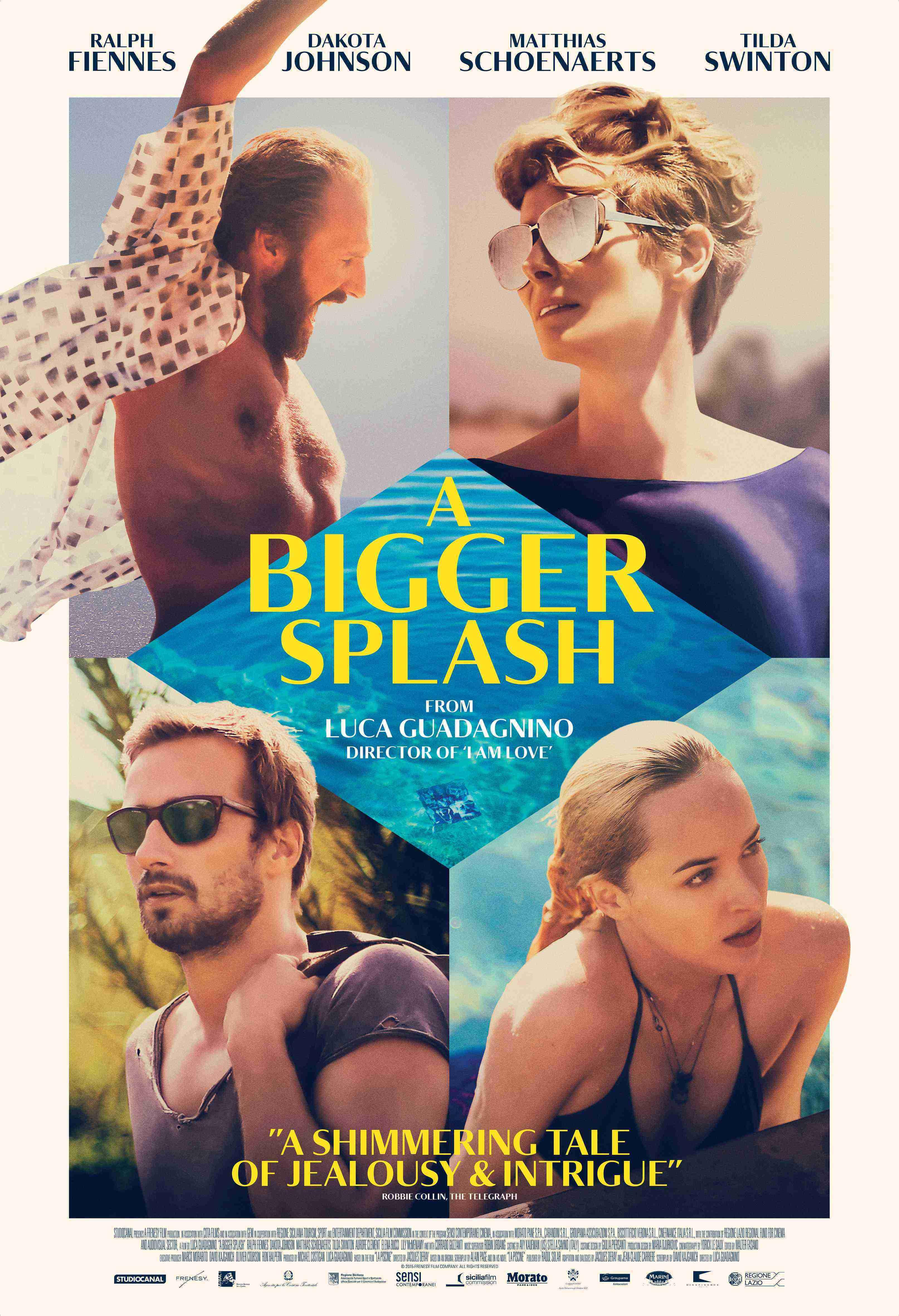 """3.A Bigger Splash / """"Голямото плискане"""" (2015) – Режисьор: Лука Гуаданино; Участват: Тилда Суинтън, Ралф Файнс, Дакота Джонсън"""