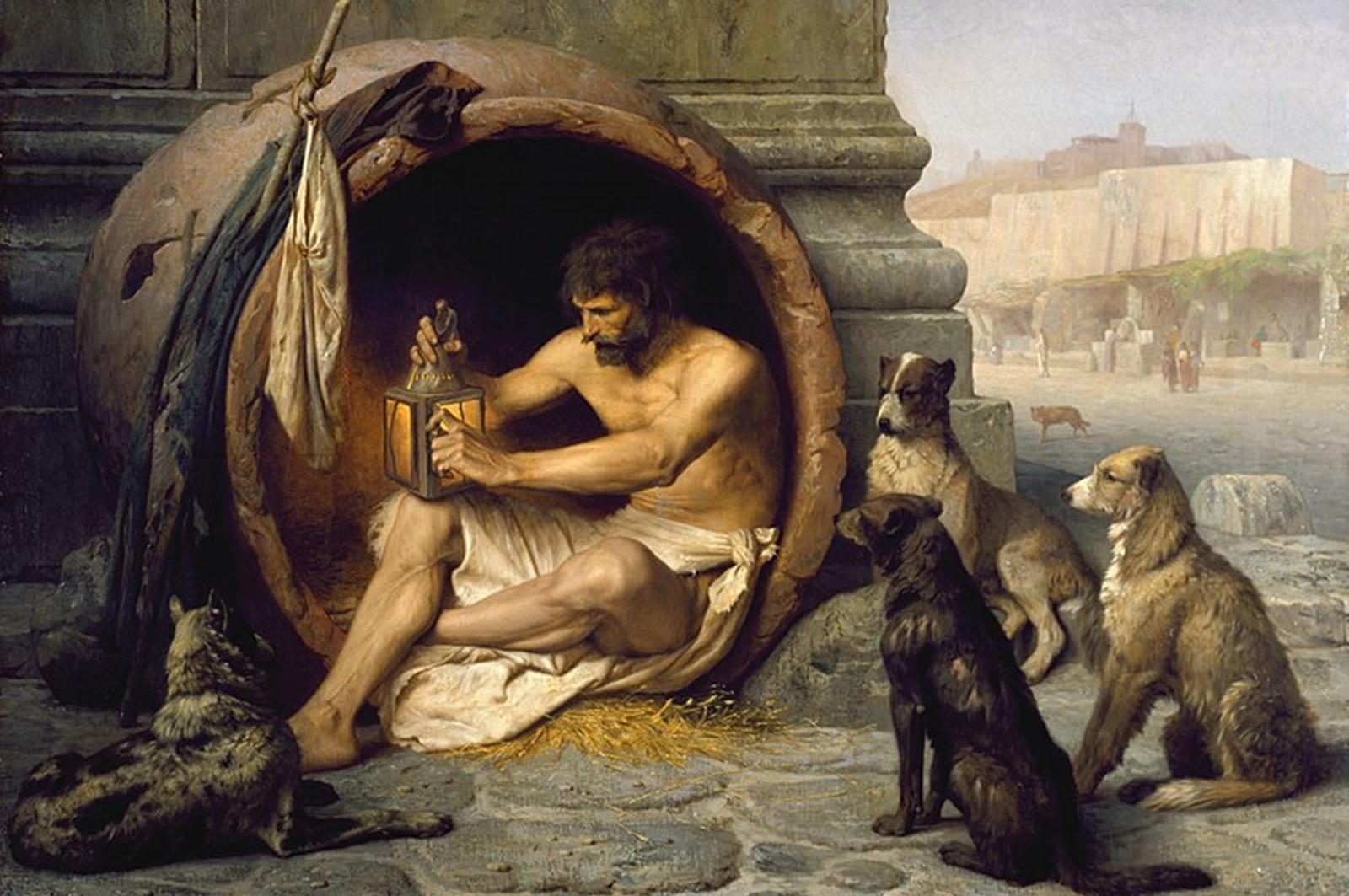 Диоген Синопски – Циника<br /> Диоген Синопски, наречен Циника, е роден в град Синоп (дн. Турция) през 412 г. пр. Хр. Няма запазени писмени източници за живота и идеите на Диоген, защото няколкото книги, написани от него, са били изгубени през вековете, но анекдотите за него, много точно илюстрират характера му. Той привиквал с резките промени на времето като живеел в делва, принадлежаща на храма на Кибела. Смята се, че философът разбил единствената си чаша, след като виждял момче да пие от шепите си. Аскетизмът му спечелва и място в класацията на най-странните хора. Начините, по които Диоген демонстрирал своята философия били твърде нестандартни за времето си… а и за днешното време.<br />