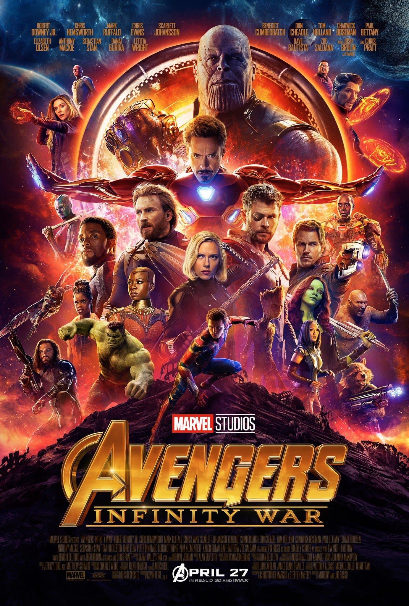 """2. Avengers: Infinity War / """"Отмъстителите: Война Без Край"""" – Режисьори: Джо и Антъни Русо; Участват: Джош Бролин, Крис Еванс, Робърт Дауни Джуниър"""