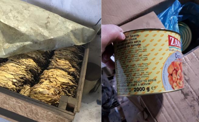 Нелегален цех опакова тютюн като котешка храна и консерви