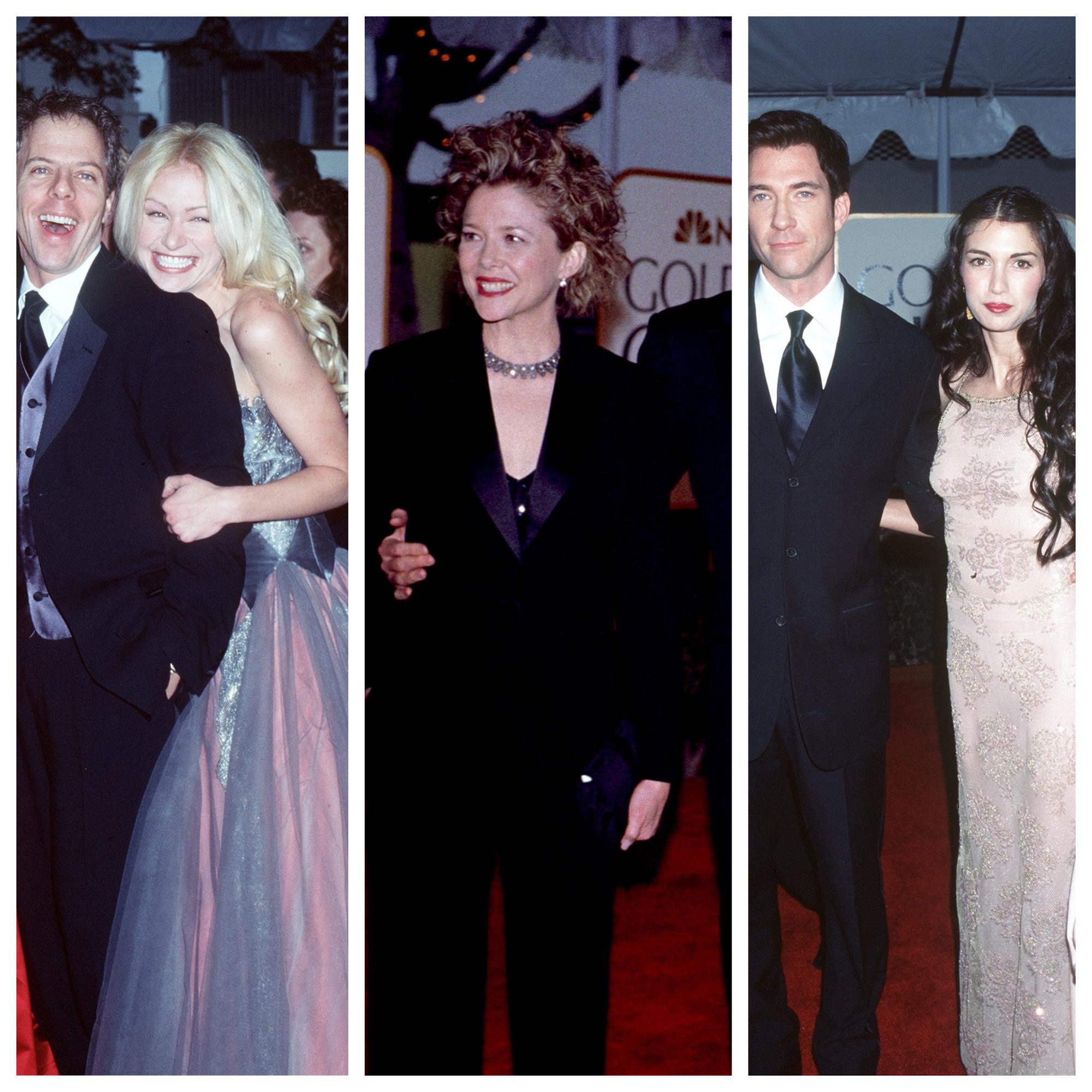 """В края на 90-те на мода са отпуснатите къдрици. На тази прическа залагат и дамите на червения килим на """"Златен глобус"""". На снимката виждате част от каста на сериала """"Али Макбийл"""", актрисата Анет Бенинг иДилан Макдермът с бившата си съпруга Шива Роуз."""