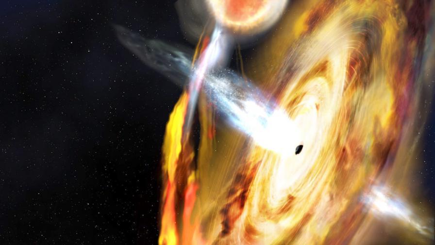 Илюстрация на черна дупка и нейната корона