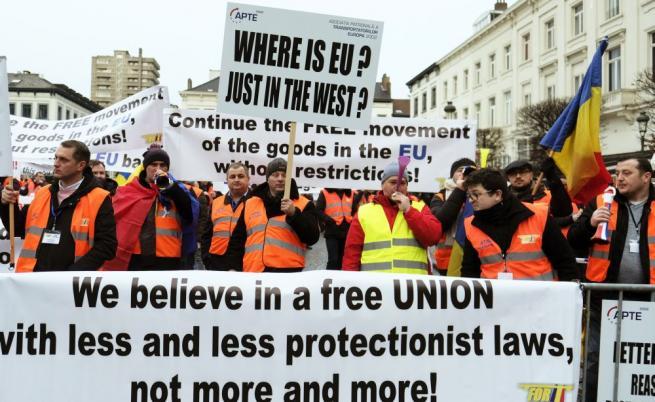 Български превозвачи на протест в Брюксел, Желязков: Изправени сме пред абсурд