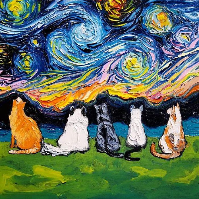 Така се роди поредицата Ван Гог Никога...<br /> В момента работя върху серия с различни породи кучета, обитаващи света на Винсент… или поне светът на Винсент според моите виждания.