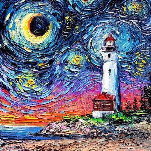 """1. Представи се в три изречения.<br /> - Казвам се Айа Триер и съм творец на изящното изкуство, работещ и живеещ в северната част на щата Ню Йорк в САЩ. Професионално се занимавам с рисуване от 16 години с фокус върху маслената живопис. Работя по различни проекти, но напоследък станах по-известна със своите миксове на """"Звездна нощ"""" на Ван Гог с модерна нотка."""