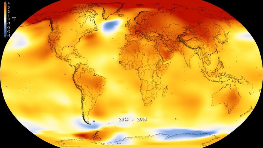 Карта на температурните аномалии на планетата. По-високите от нормалното за дадения регион температури са в червено, а по-ниските - в синьо.