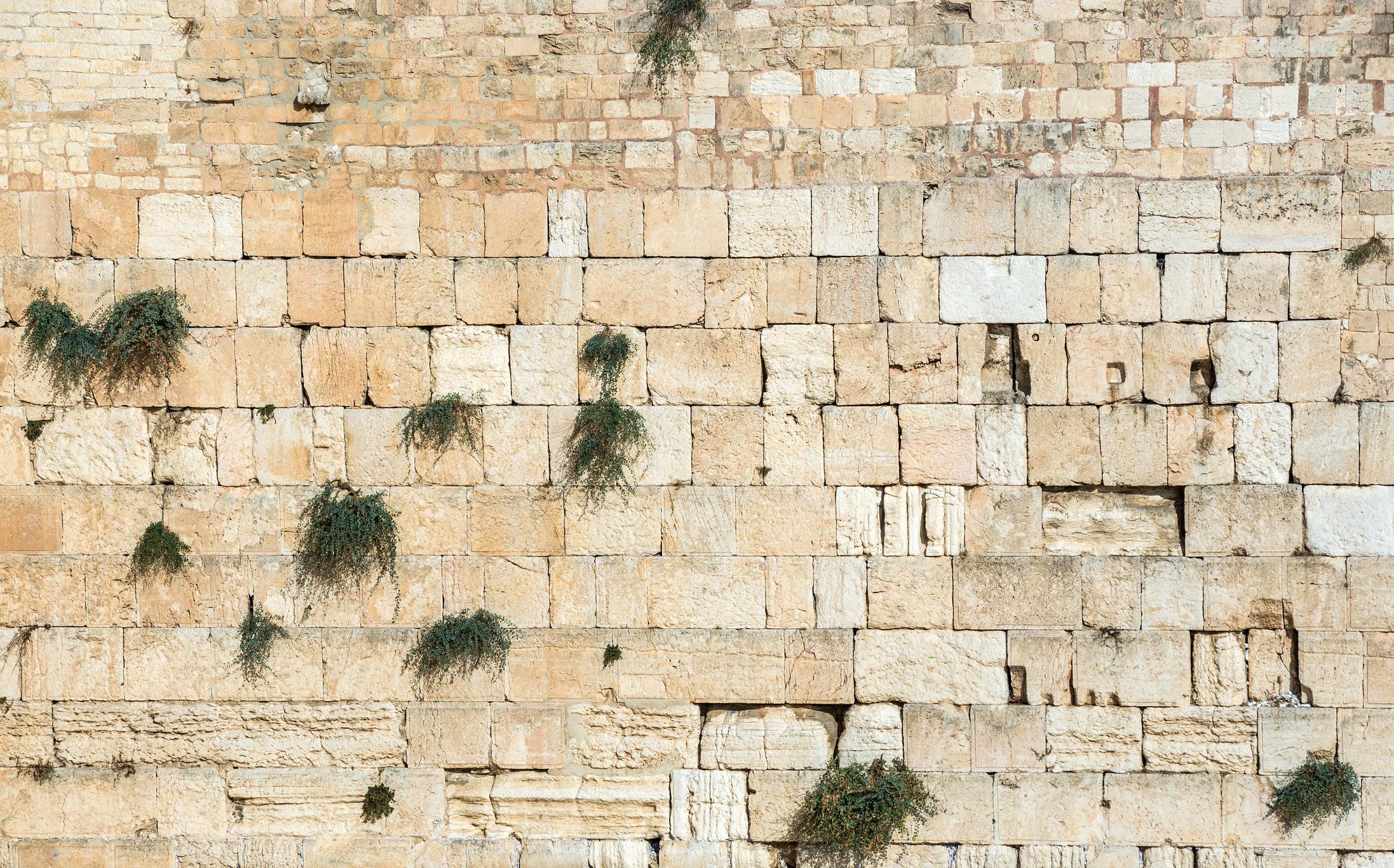 Стената на плача,Йерусалим.По всяко време край нея може да се видят вярващи, които се молят. Между пролуките се слагат листчета с различни пожелания.
