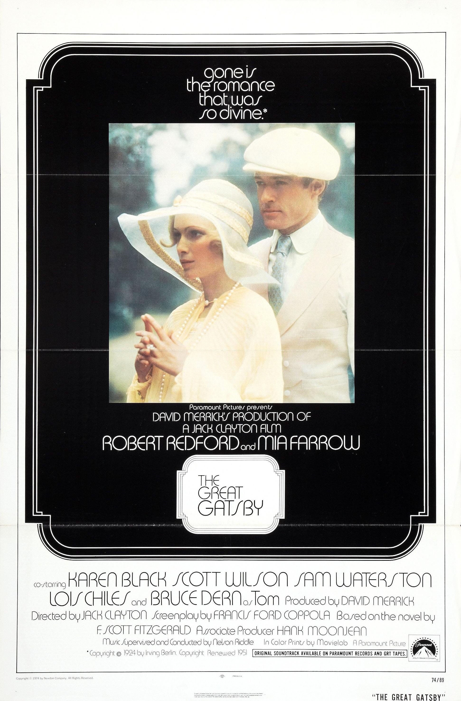 """The Great Gatsby / """"Великият Гетсби"""" (1974) – Режисьор: Джак Клейтън, Участват: Робърт Редфорд, Миа Фароу, Брус Дърн"""