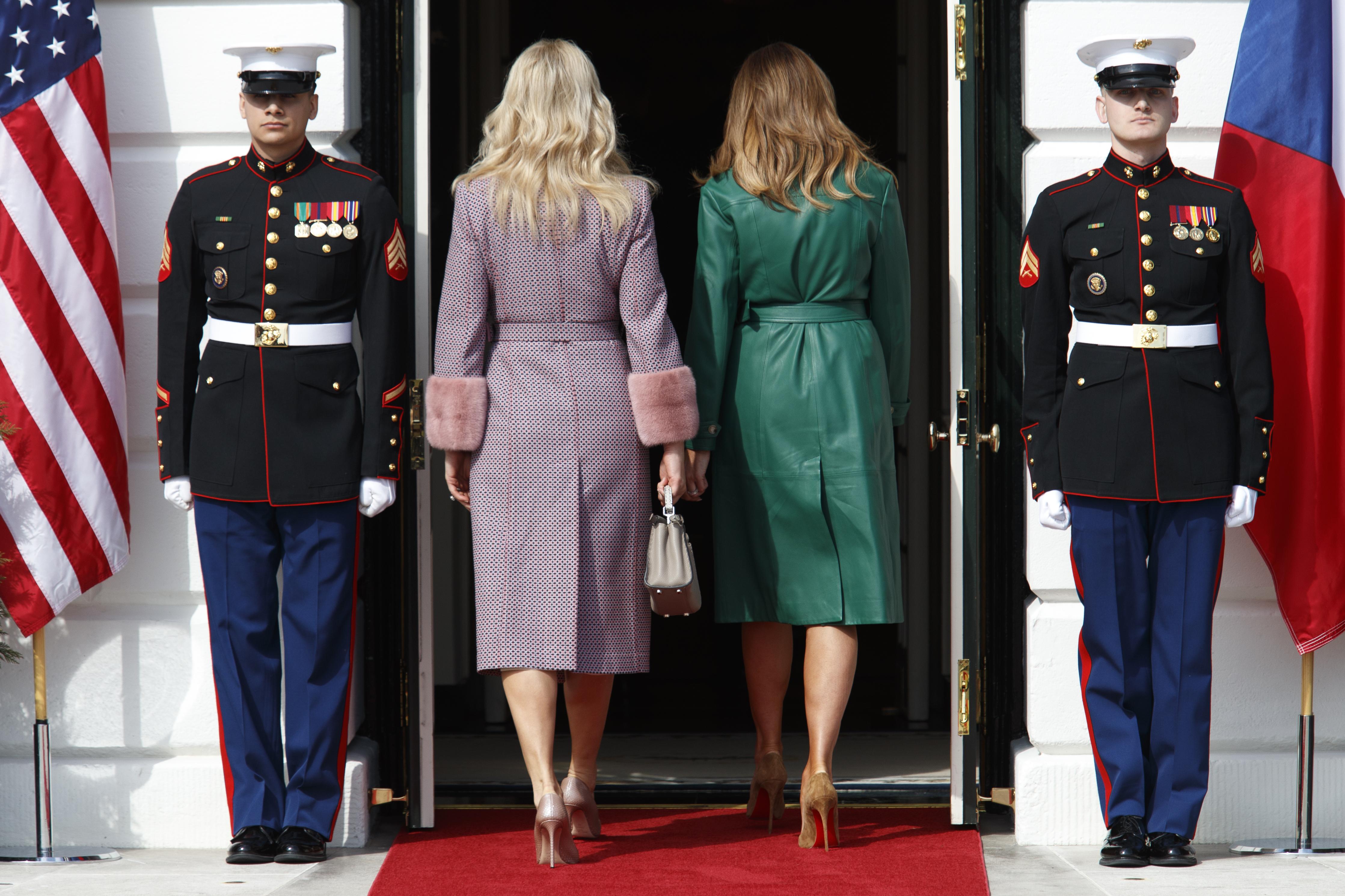 Тръмп заедно със съпругата си Мелания приветстваха за добре дошли семейство Бабиш на входа на Белия дом. Първите дами се спряха на прага за обща снимка, но политиците веднага влязоха в резиденцията.
