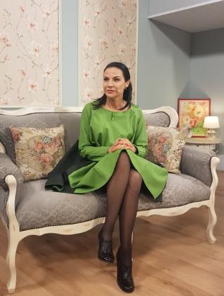 Гергана Стоянова в студиото на сутрешното си предаване