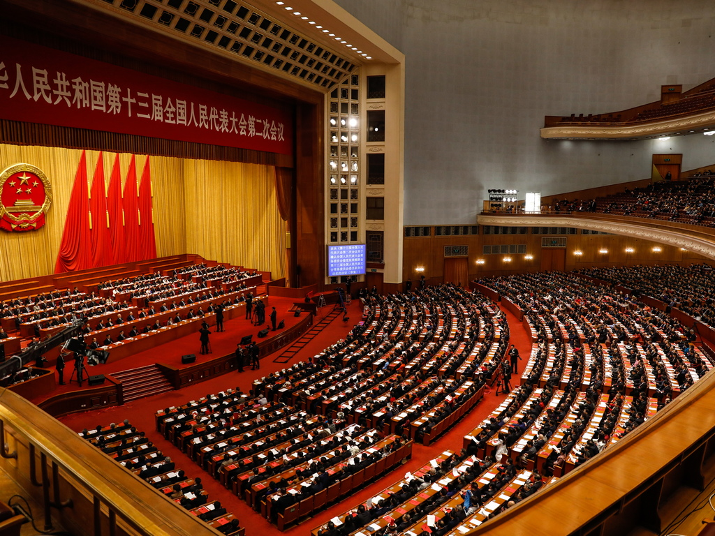 Голямата зала на народа, най-силният символ на на политическата власт в Китай се намира на площад Тянанмън в центъра на Пекин.