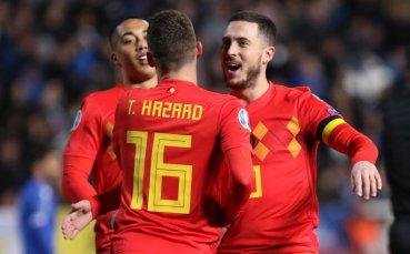Белгия победи скромничко в 100-ия мач на Еден Азар