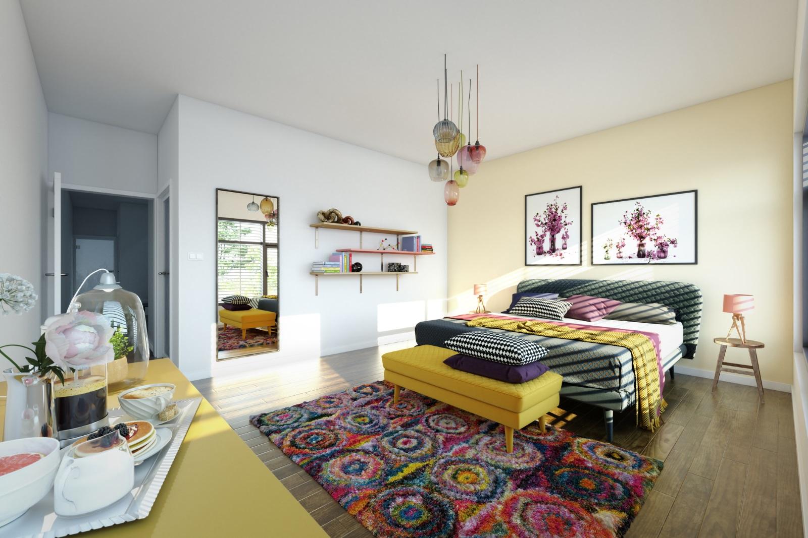 В спалнята килимчето трябва да е разположено перпендикулярно на леглото.