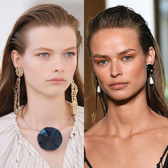 <p><b>Мокър ефект</b><br /> Топлите месеци обичайно не минават без мокър ефект в косите и пролет/лято 2019 не прави изключение. Практична прическа, която придава секси излъчване. Постига се лесно със стилизанти за коса.<br /> <br /> <i>Chloe, Altuzarra</i></p>