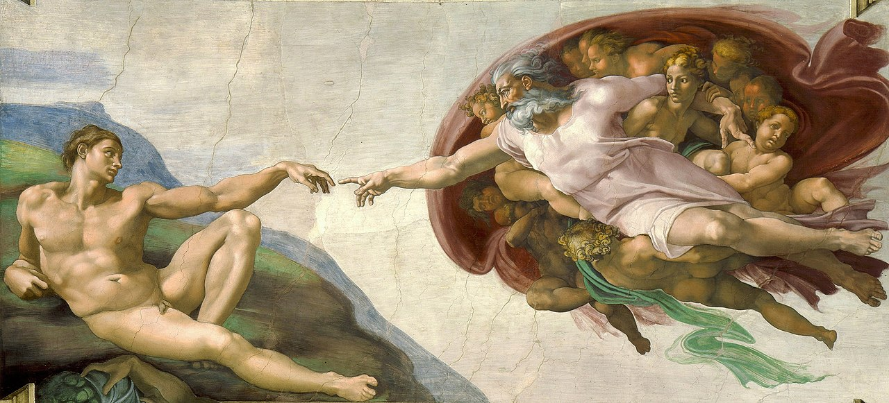 """""""Сътворението на Адам"""" от Микеланджело Буонароти<br /> Картината изобразява Господ, който протяга ръка към Адам, от облак с формата на човешки мозък. Като младеж Микеланджело е помагал в църквата, правейки дисекция на починалите. Най-вероятно тогава той придобива реалистична представа за човешкия мозък. Посланието е, че най-големият дар на Господ за човечеството е интелекта – идея заимствана от късната неоплатонистка философия, наместила се и в християнската теология."""