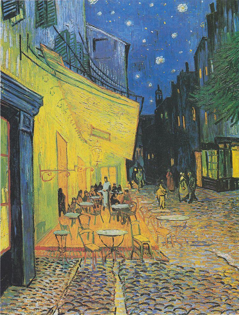 """""""Кафе тераса през нощта"""" от Ван Гог<br /> Някои учени смятат, че произведението на изкуството """"Кафе тераса през нощта"""" на холандския художник е реалистична интерпретация на """"Тайната вечеря"""" на Леонардо да Винчи. И двете картини изобразяват 12 човека около маса, а учените смятат, че облечената в бяло сервитьорка с дълга коса е въплъщение на Иисус, стоейки пред прозорец с кръст. Това не са единствените прилики с """"Тайната вечеря"""", а писма от времето, когато Ван Гог рисува картината, потвърждават теорията. Художникът пише на брат си за картината и силната нужда от религия в живота му."""