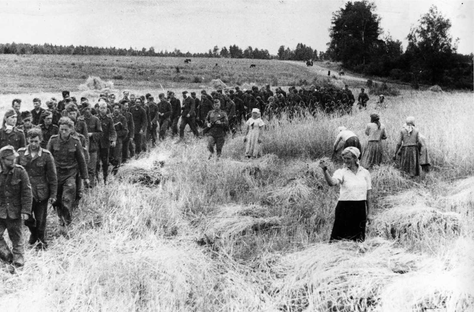 14 февруари 1944 г.: Съветските жени на полето с усмивка размахват пръст на германските военнопленници, заради които разчистват земите от отломки и снаряди.