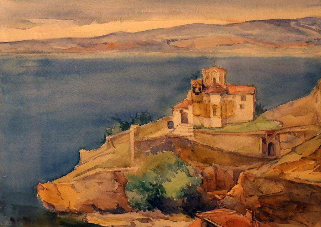 Евгения Лепавцова Църквата Йоан Канело край Охрид 1930г.