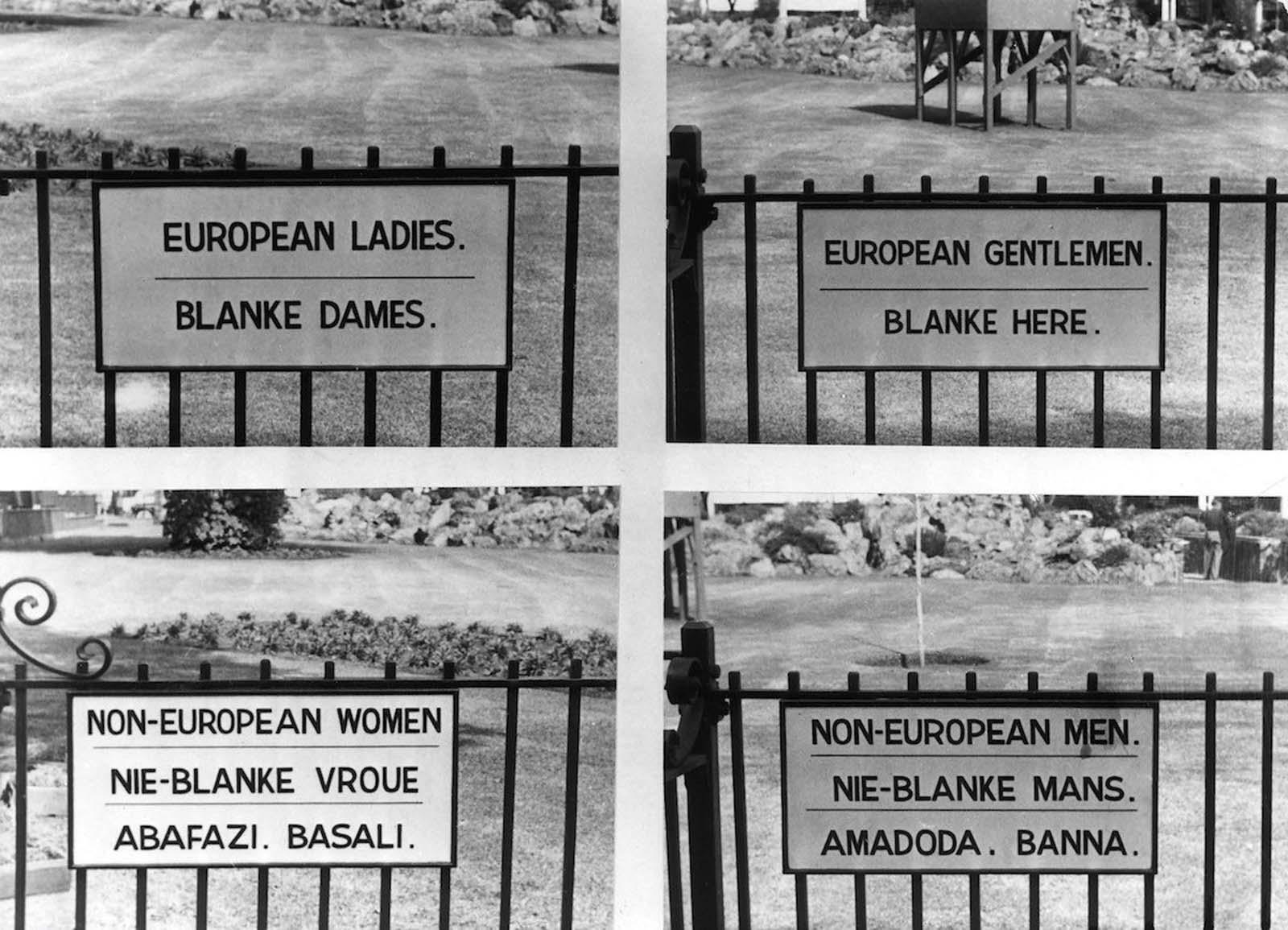<p>1957, Йоханесбург: Знаци, обозначаващи разделените обществени места за европейски дами, господа и неевропейски жени и мъже.</p>