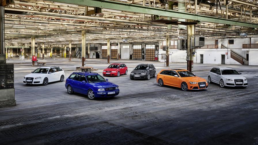 От ляво на дясно: Audi RS 4 Avant (Typе B7), Audi RS 2 Avant, Audi RS 4 Avant (Typе B5), Audi RS 6 Avant (Typе C5), Audi RS 4 Avant (Typе B8), Audi RS 6 Avant (Typе C6).