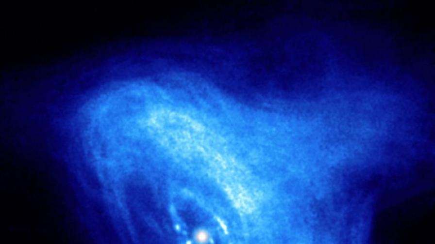 """Снимка в рентгеновия спектър на Мъглявината """"Рак"""", която показва въртенето на пулсара в центъра ѝ"""