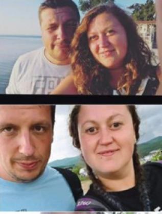 Дени и съпругът й - преди и след режима на хранене.