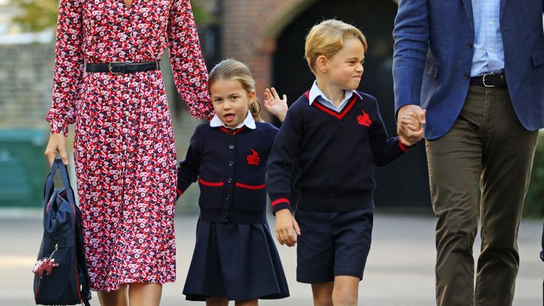 Шарлот и Джордж отидоха на първия си учебен ден