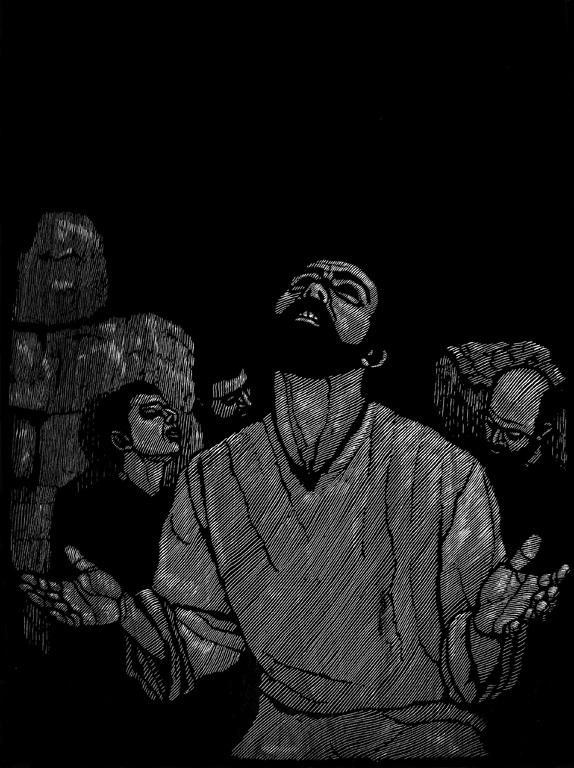 <p>Джовани Детори | Giovanni Dettori Исус в Гетсиманската градина | Gesu nel Getsemani гравюра в/у дърво I woodcut</p>