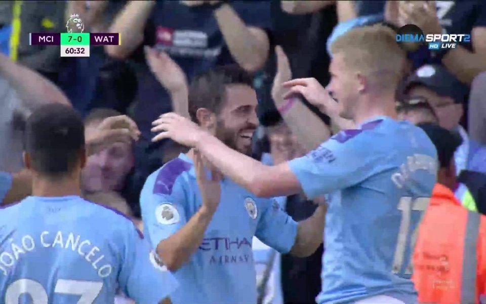 Манчестър Сити вкара седми гол в 60-ата минута срещу Уотфорд,