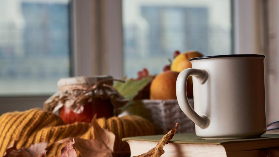 есен уют чаша чай кафе дом