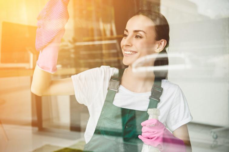 прозорци жена миене чистене