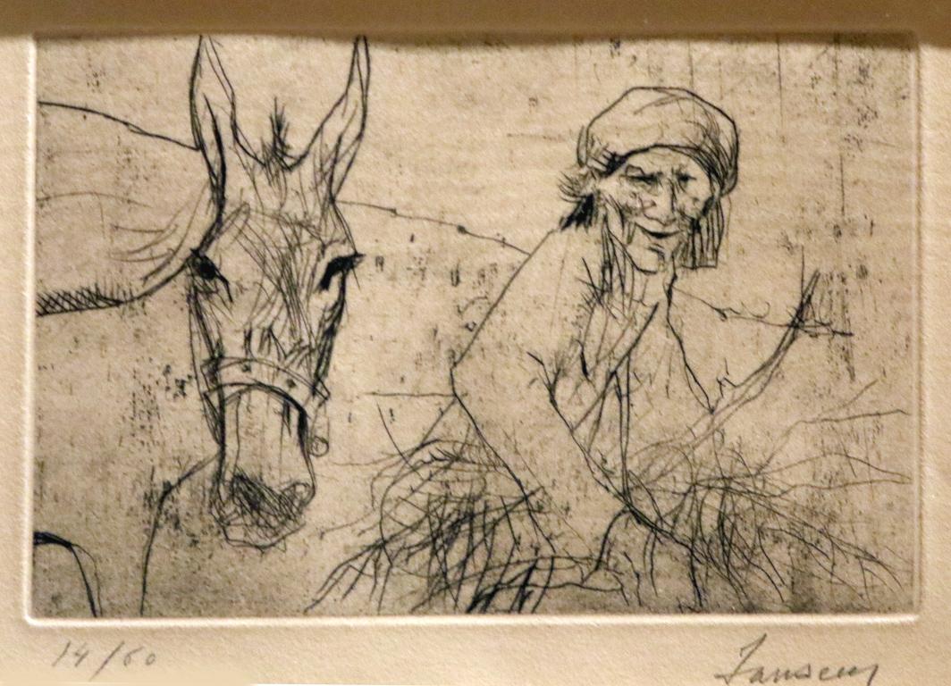 <p>Жан Жансем, Турция/Франция. Стара жена с муле, офорт</p>