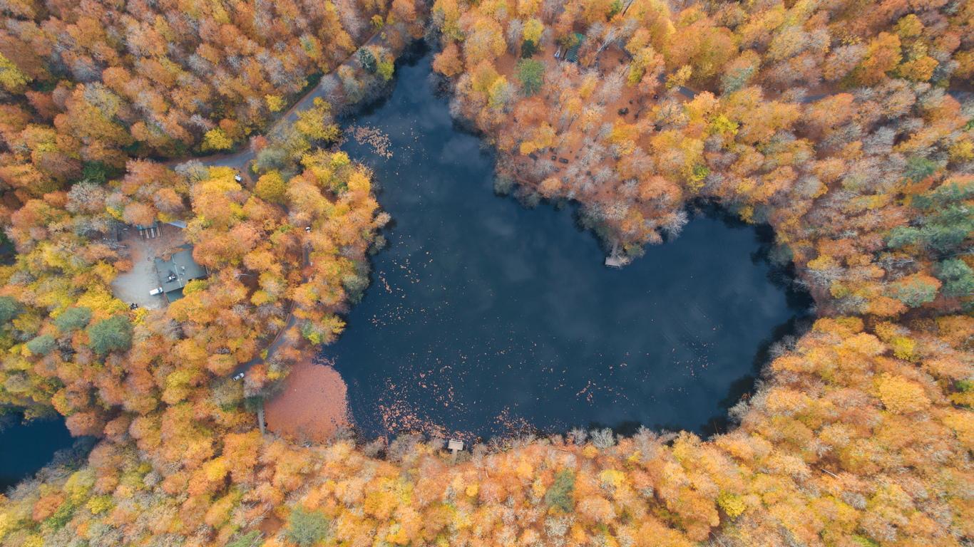 <p>Хора се наслаждават на слънчевият ден до Голямото езеро (Буюкгол) с есенни цветове в Националния парк Седемте езера (Йедиголер) в Болу, Турция.</p>