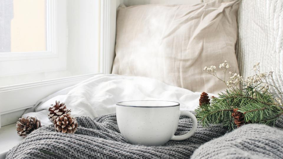 зима студ уют чаша чай кафе легло