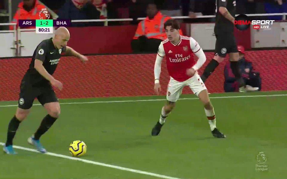 Отборът на Брайтън води с 2:1 при гостуването на Арсенал