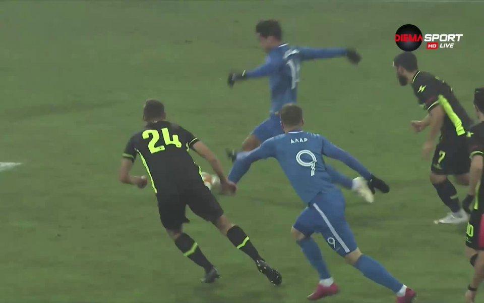 """В 24-ата минута резултатът на стадион """"Георги Аспарухов"""" бе открит."""