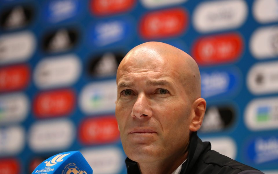 Старши треньорът на Реал Мадрид Зинедин Зидан говори пред медиите