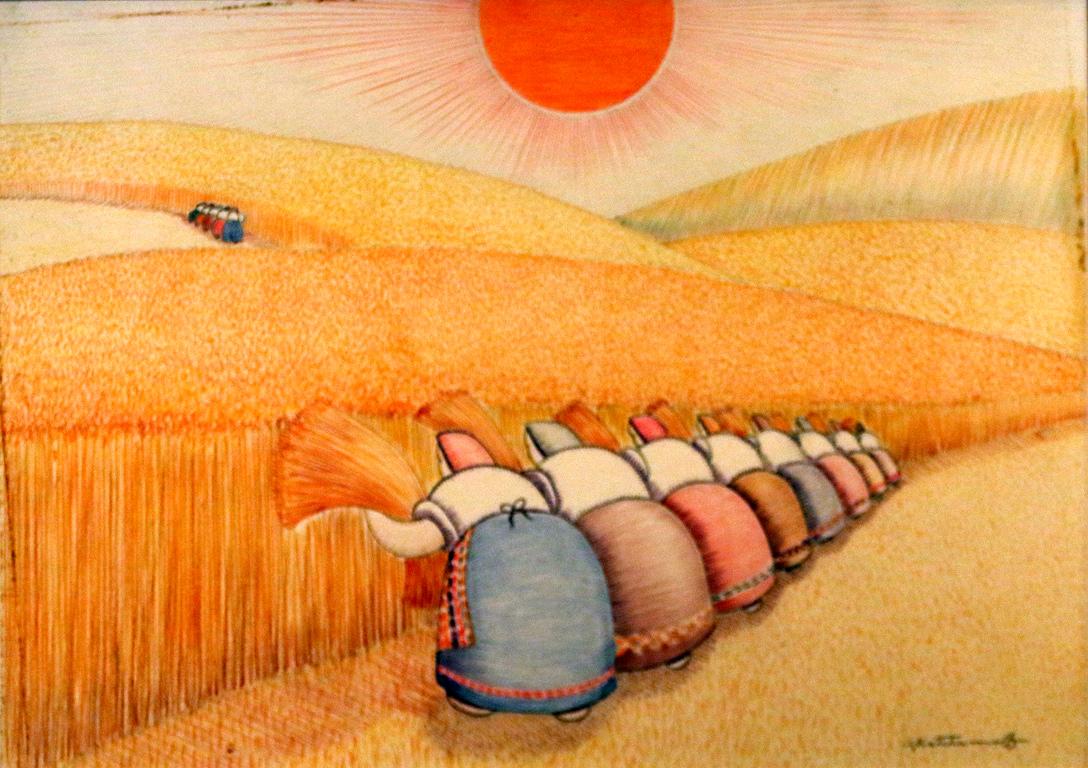<p>Настъпва жътвата.</p>  <p>Огненото слънце целува узрелите жита.</p>  <p>Рамо до рамо жените жънат златните жита.</p>  <p>Те равномерно замахват с остри сърпове и жътварските им песни огласят долините</p>